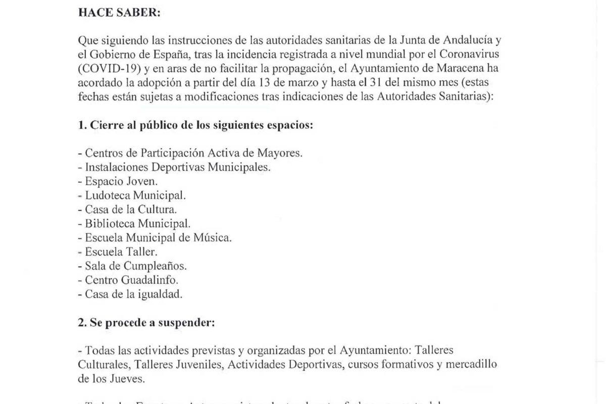 BANDO DE MEDIDAS PREVENTIVAS E INSTRUCCIONES EN RELACIÓN CON EL CORONAVIRUS (COVID-19)