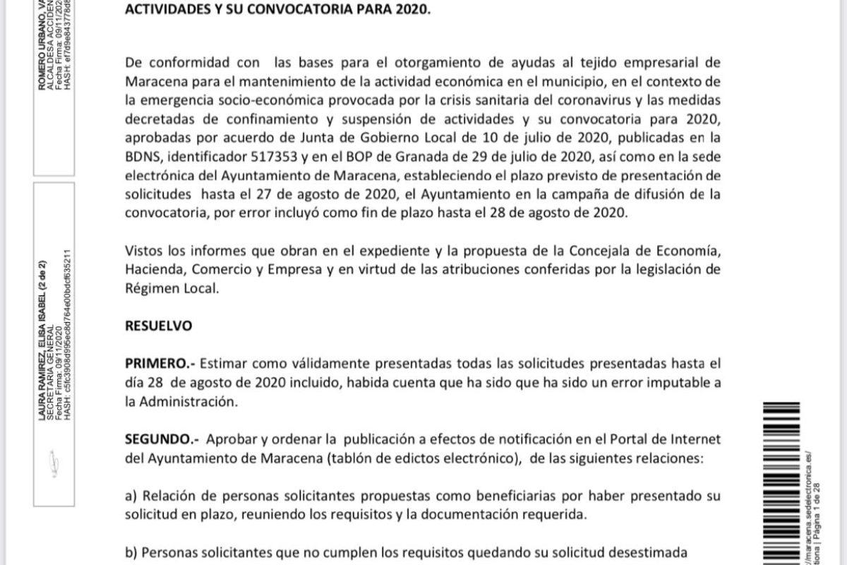 RESOLUCIÓN Y APERTURA DEL PLAZO DE SUBSANACION DE LAS AYUDAS AL TEJIDO EMPRESARIAL