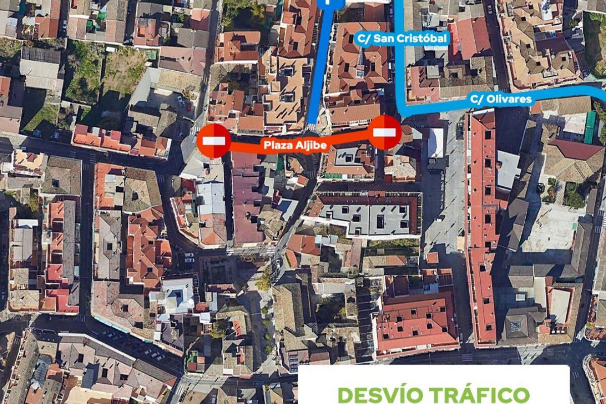 Afección al tráfico por obras en Plaza Aljibe